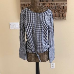 Max Jeans Black White Gingham Front Tie XS